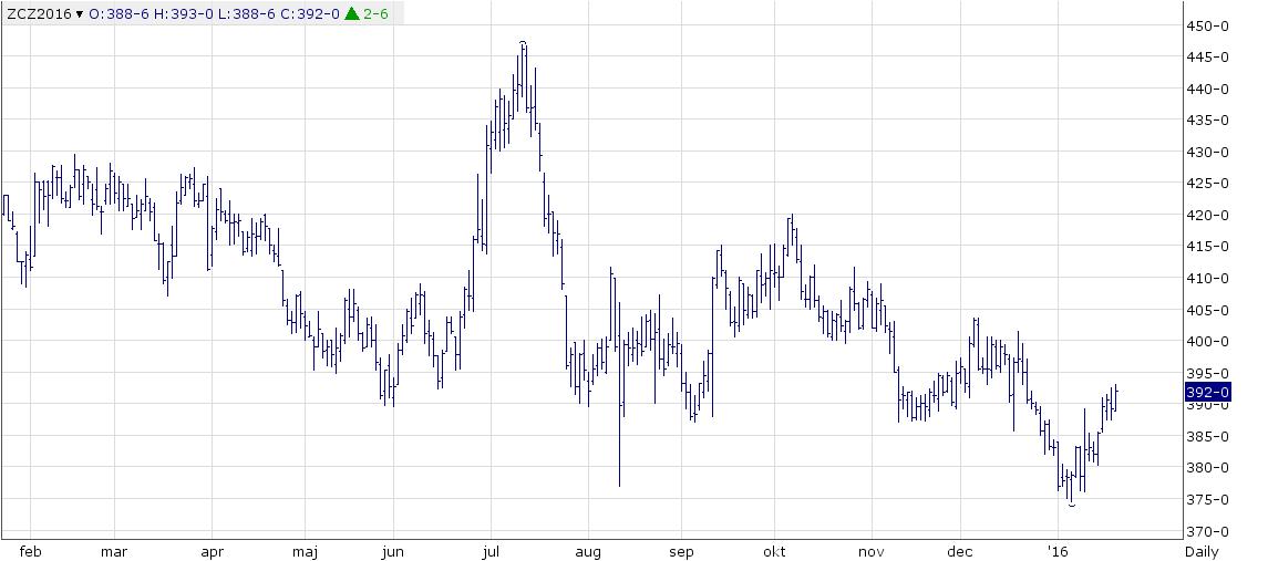 Figur 5. Priset på majs med decemberleverans fortsatte i veckan den rekyl mot den fallande trenden vi sett sedan början av året.